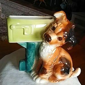 Cute vintage dog figurine planter vase